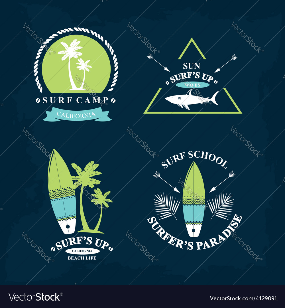 Surfing summer icons labels collection