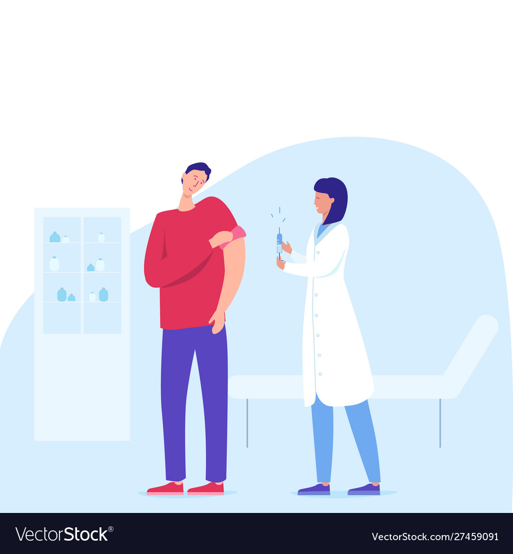 Time to vaccinate man patient having vaccine from