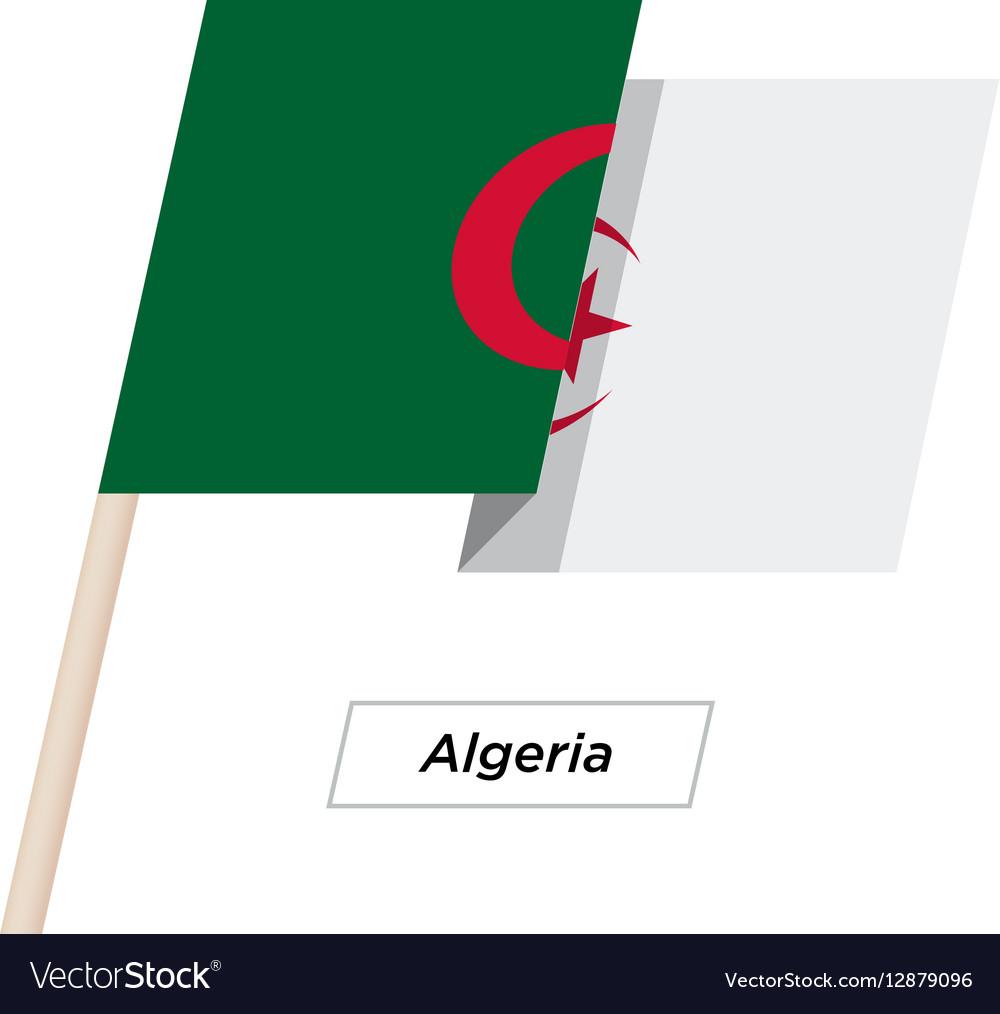 Algeria Ribbon Waving Flag Isolated on White