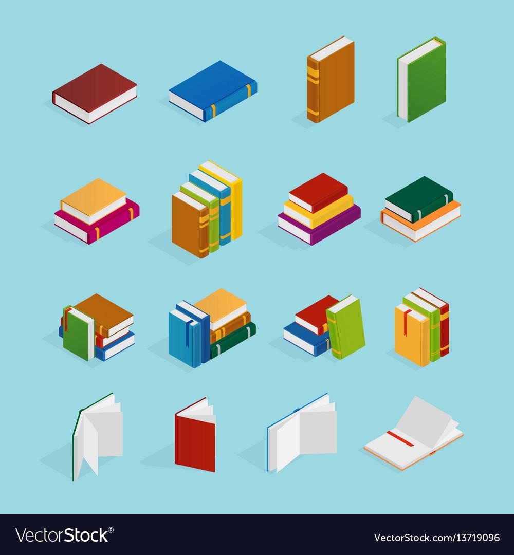 Books isometric icons set