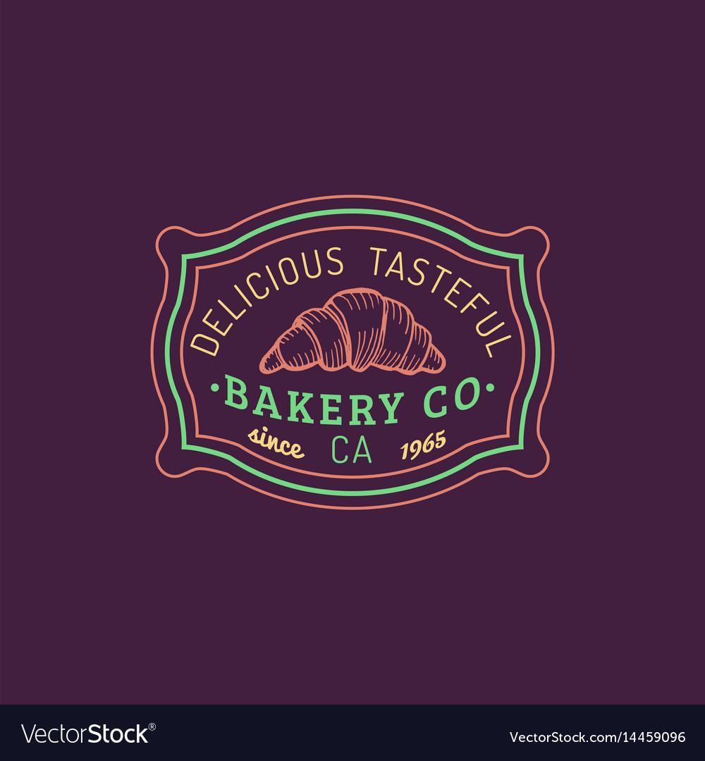 Croissant logo bakery label delicious