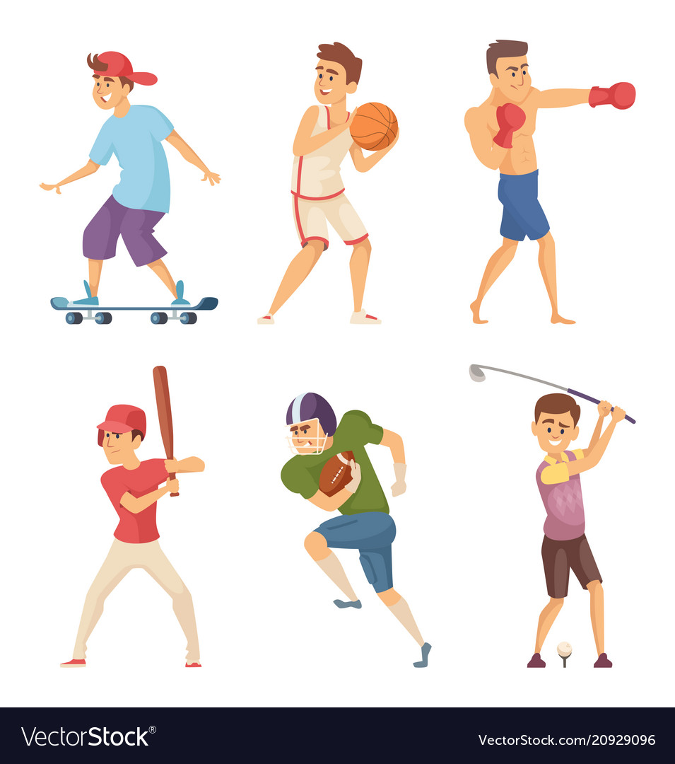 Different sports activities sportsmen in action