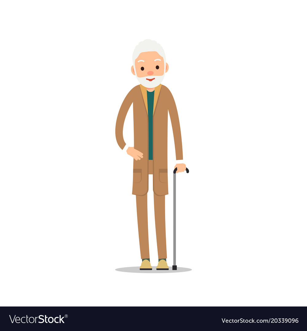 Group older people three aged people stand vector image