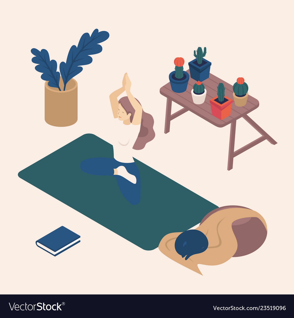 Isometric young women their free time doing yoga