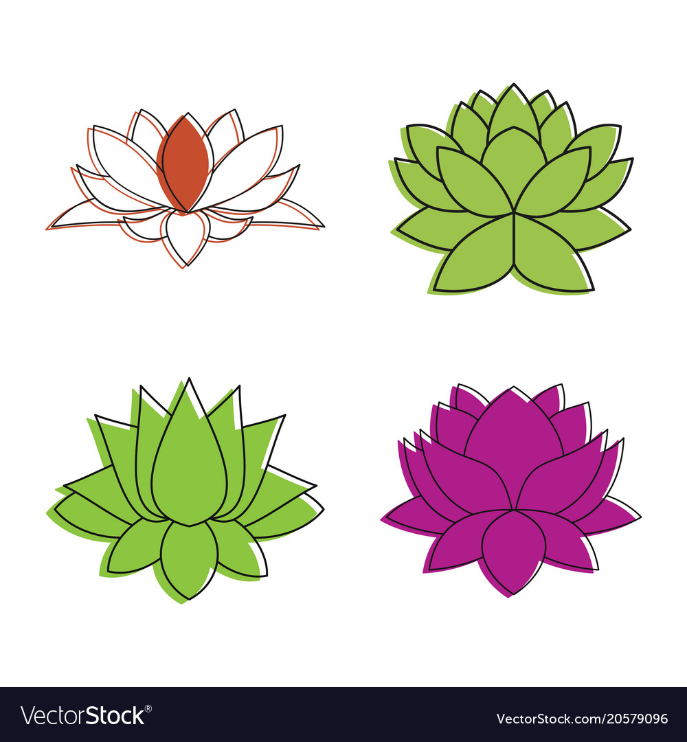 Lotus flower icon set color outline style vector image mightylinksfo