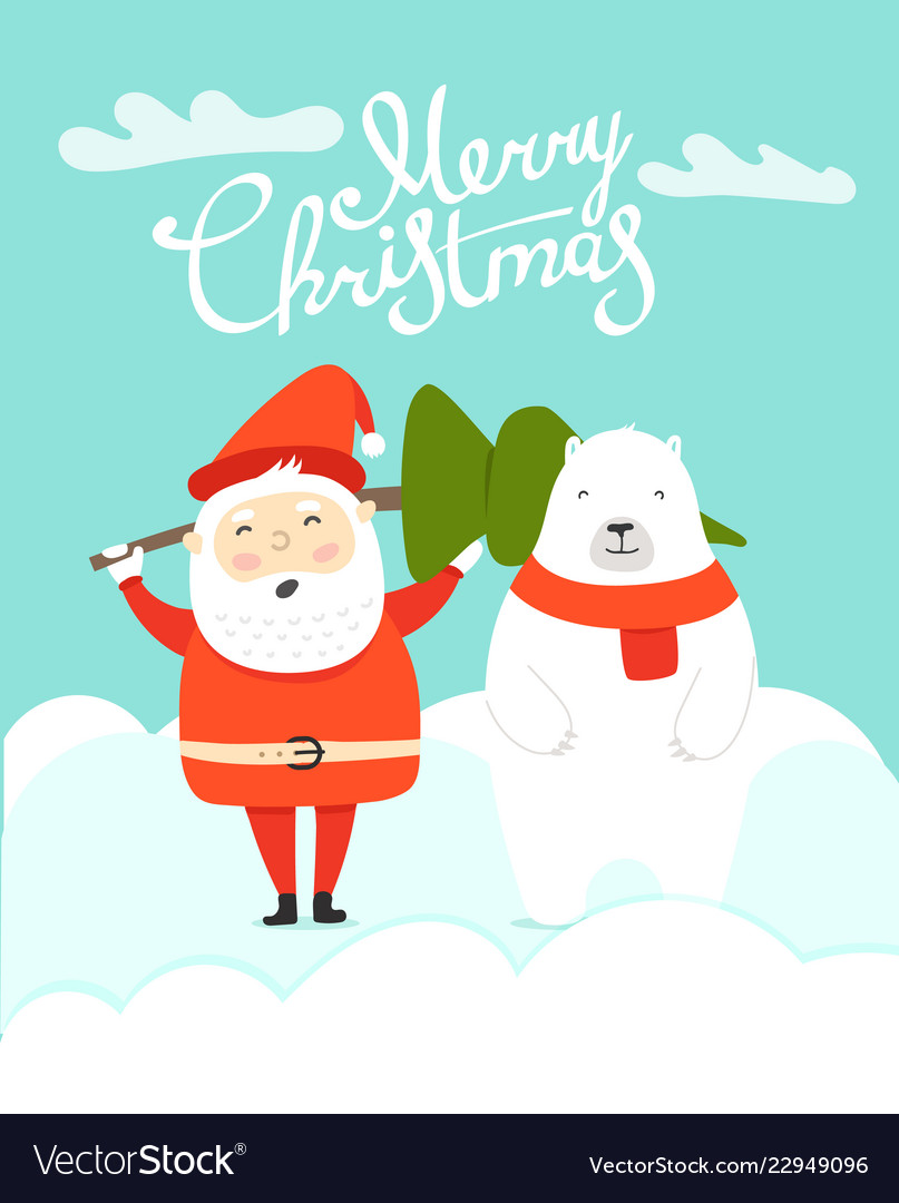 Merry christmas greeting card with santa and