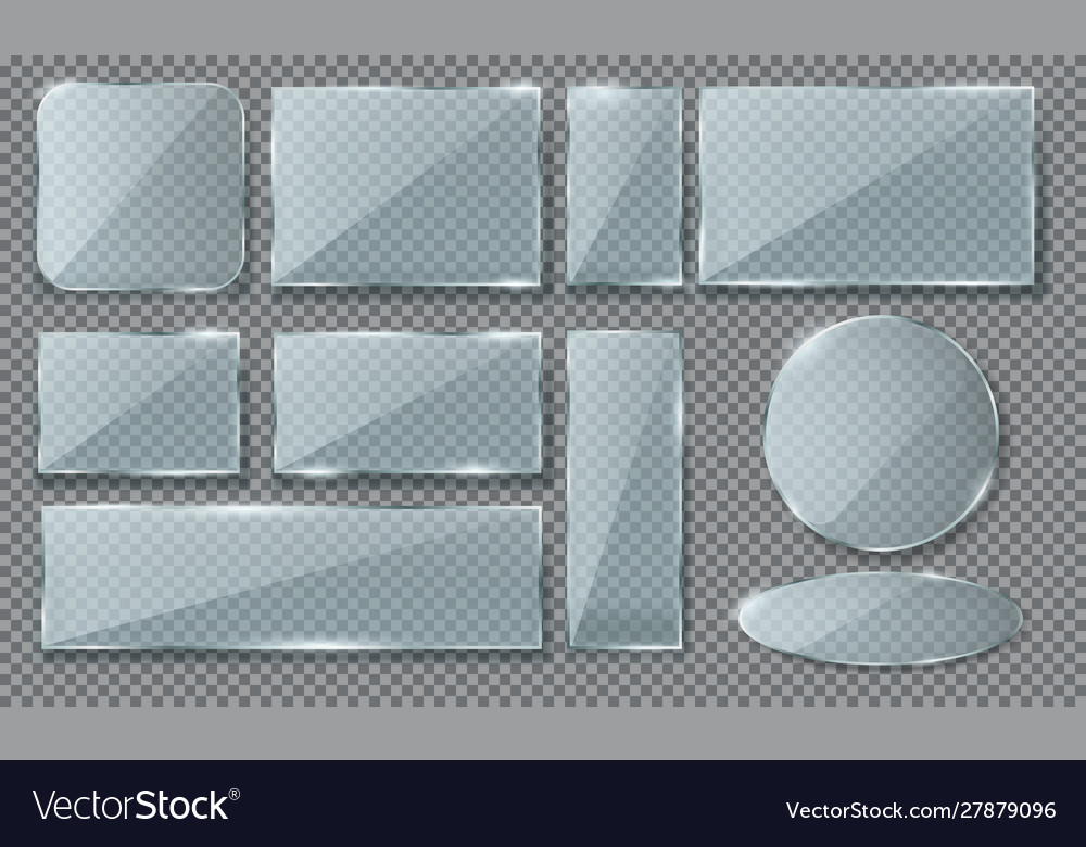 Set isolated realistic blue glass plaque