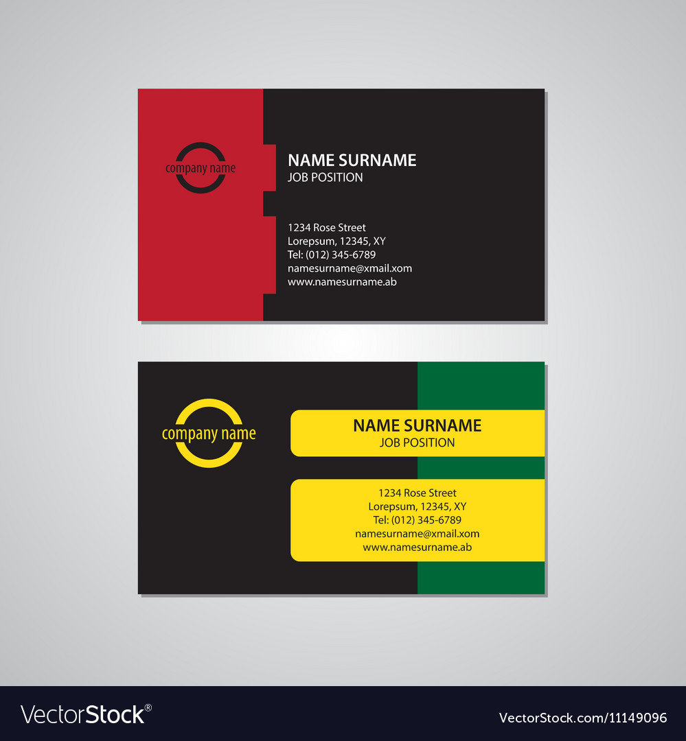 Set Of Two Colored Business Cards Usa Standard Vector Image