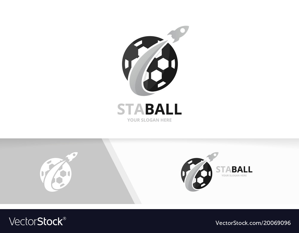 Soccer and rocket logo combination ball