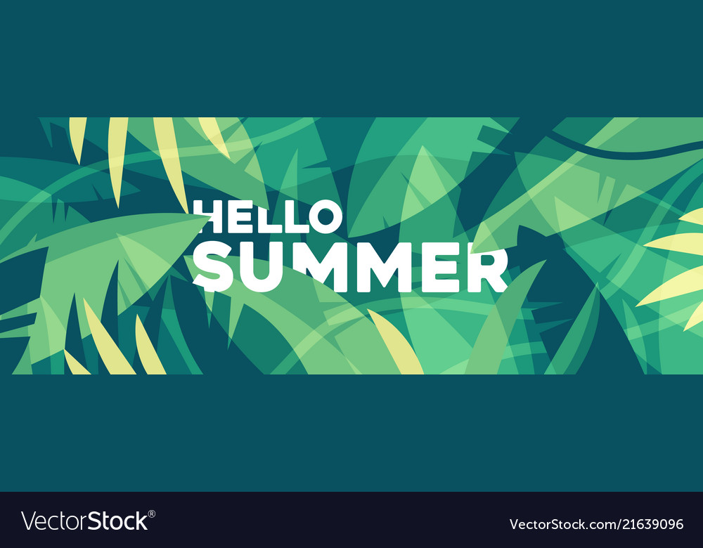 Summer banner tropical palm leaves jungles