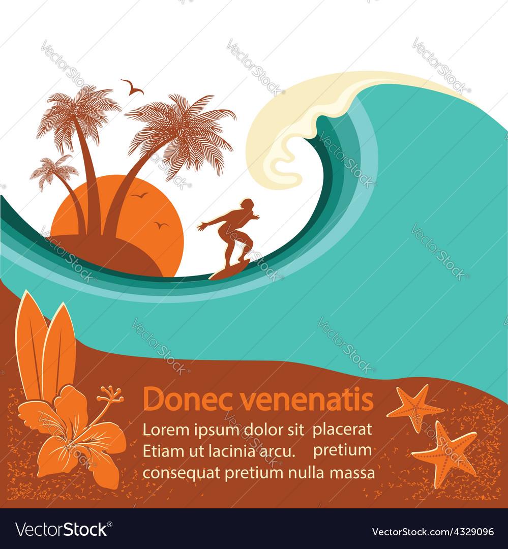 Surfer and sea wave tropical island
