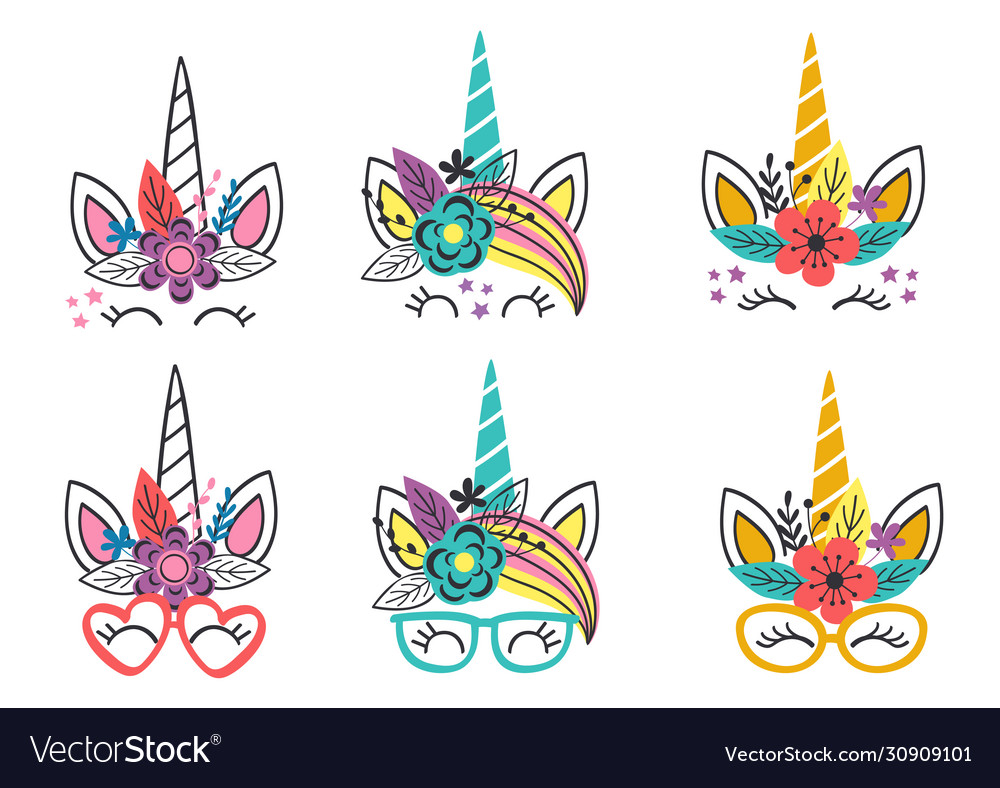 Basic rgbset isolated funny unicorn faces vector