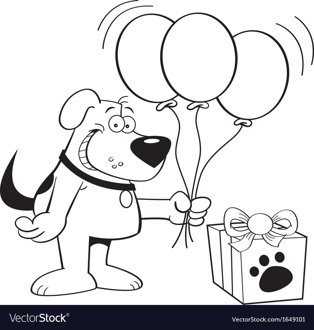 Cartoon Dog with Balloons vector image