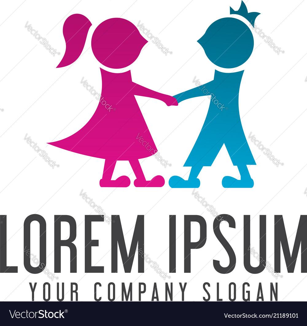 couple people logo design concept template vector image