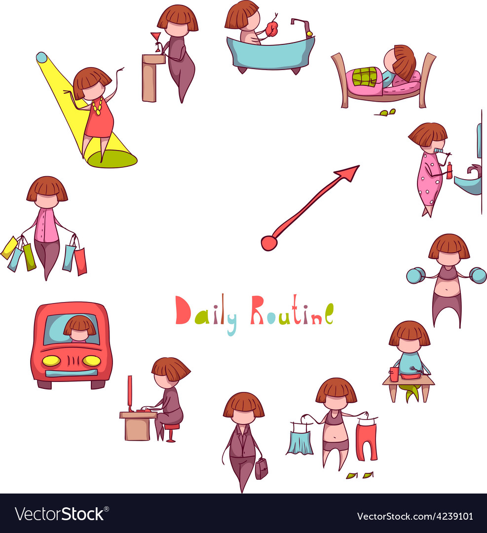 Daily Routine set with funny girl vector image