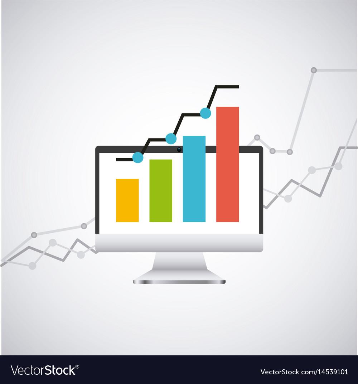 Economy growth desktop computer technology icon