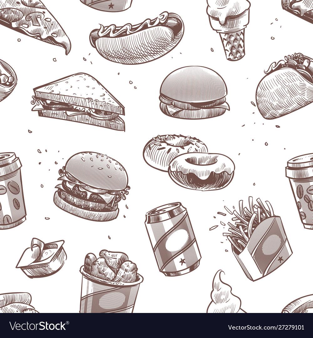 Fast food seamless pattern hot dog hamburger and
