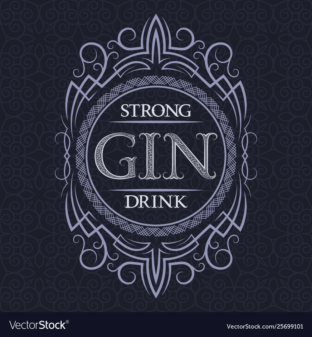 Gin strong drink label design template patterned