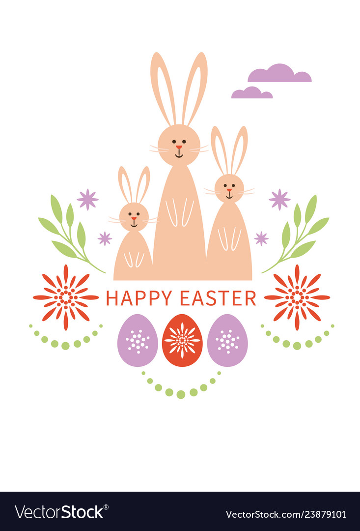 Happy easter card bunnies family