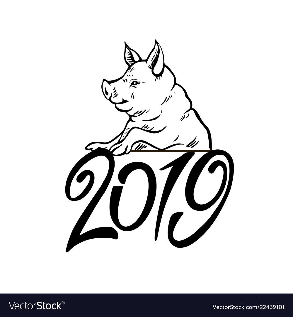 Happy pig head portrait isolated symbol 2019
