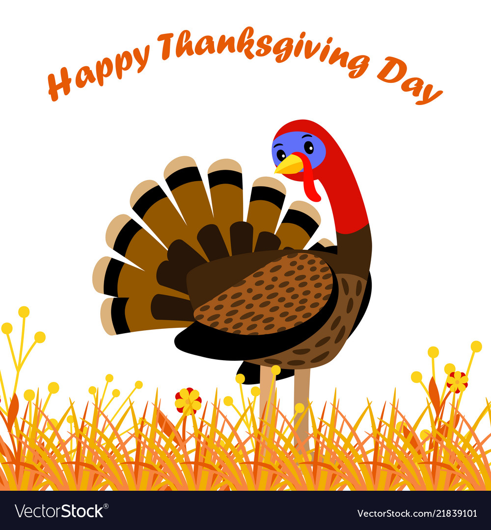 Happy thanksgiving day card with cartoon turkey