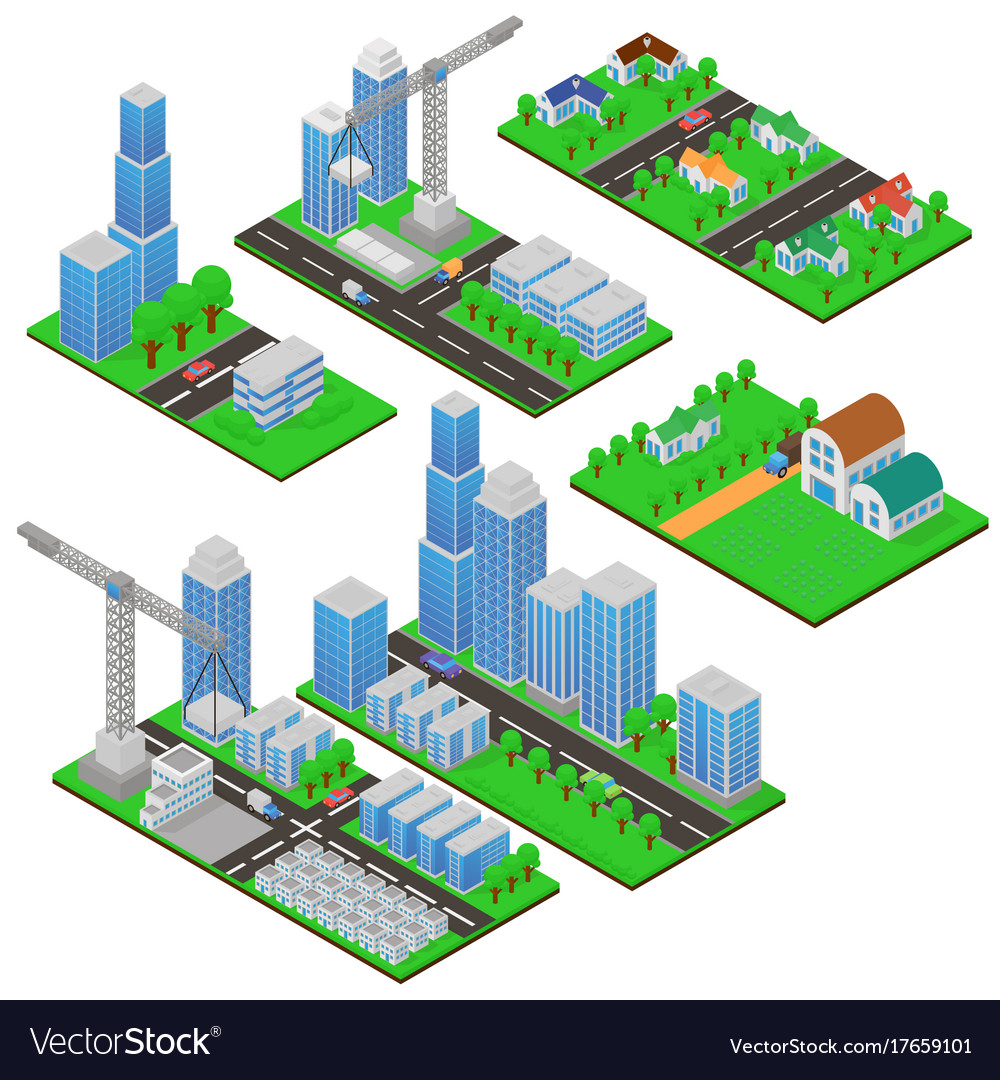 Isometric buildings and building constructions