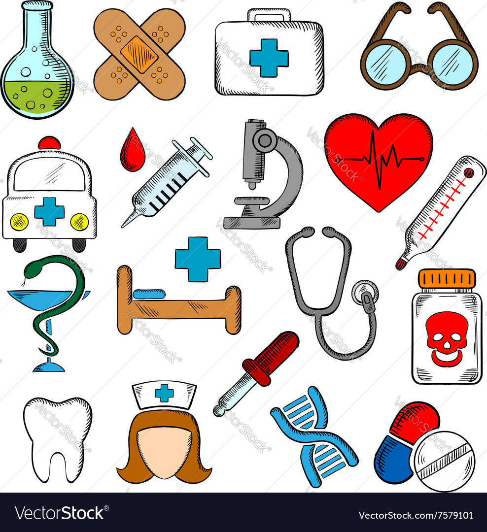 Medicine and medication icons set vector image