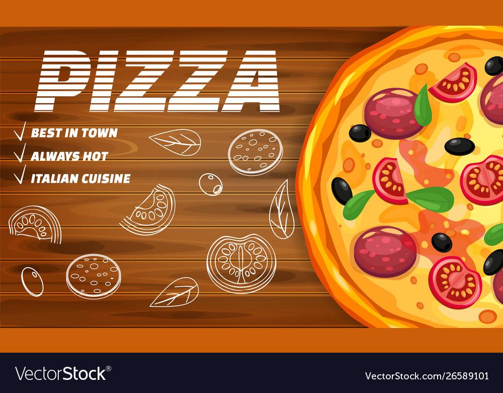 Pizza pizzeria italian horizontal template flyer
