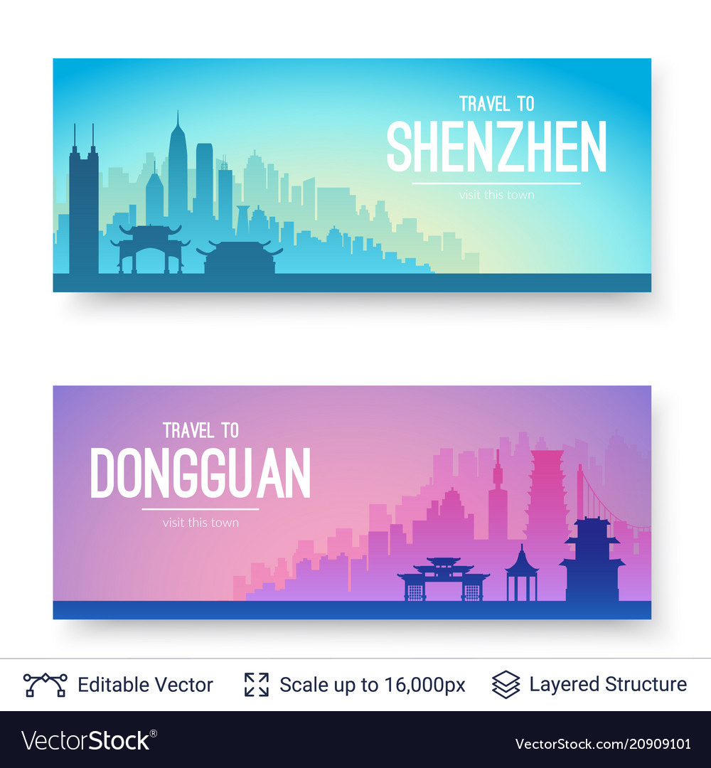 Shenzhen and dongguan famous chinese city scapes