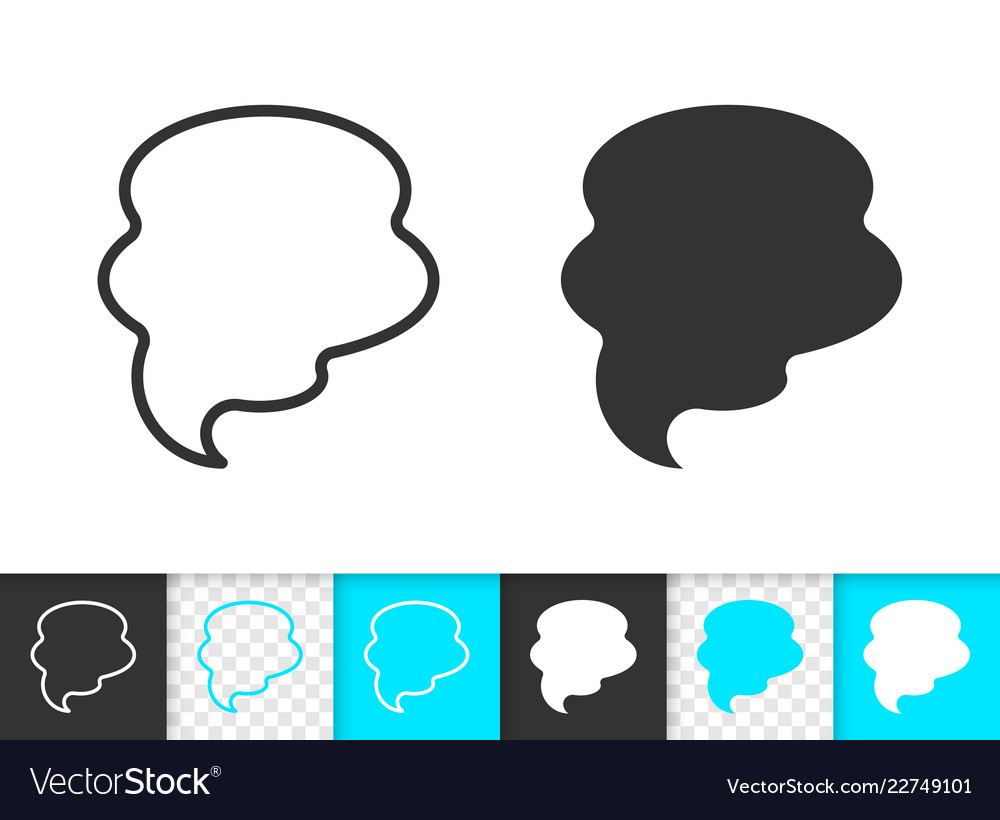 Speech bubble simple black line banner icon