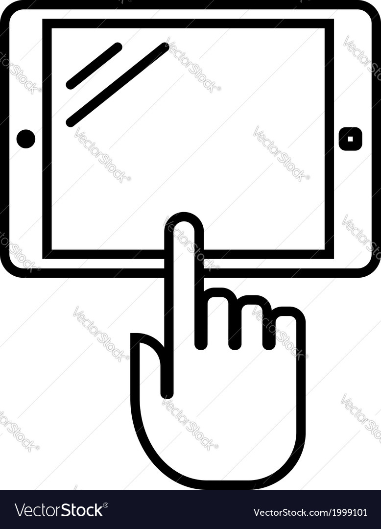 Tablet with hand outline icon