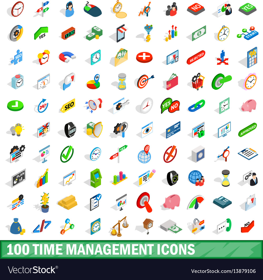 100 time management icons set isometric 3d style vector image