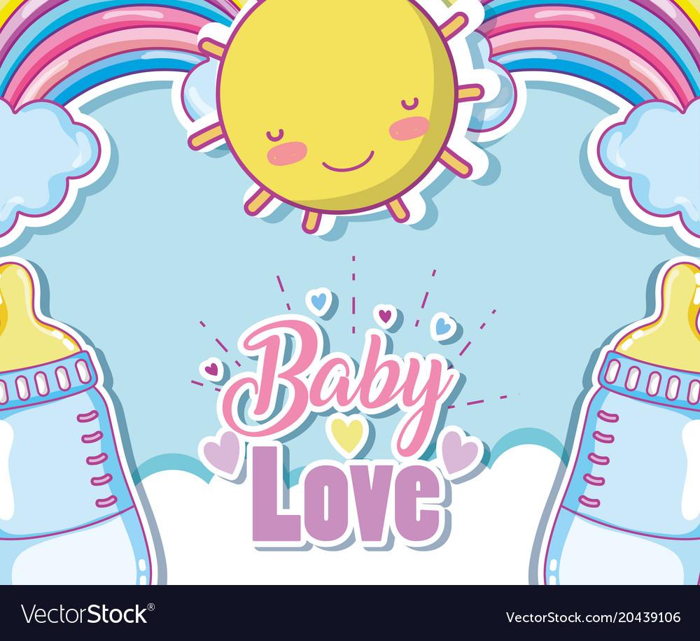 Baby love card with cute cartoons