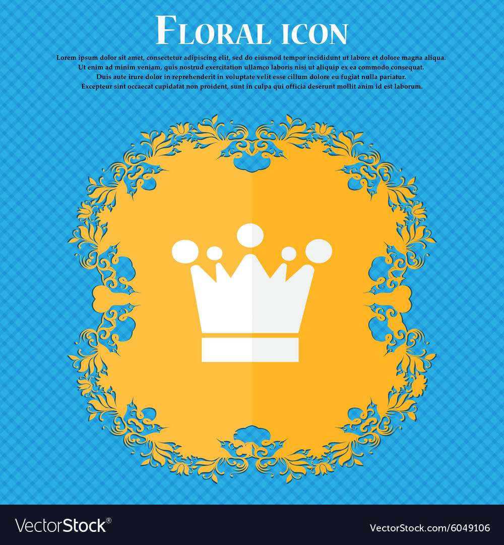 Crown icon sign Floral flat design on a blue