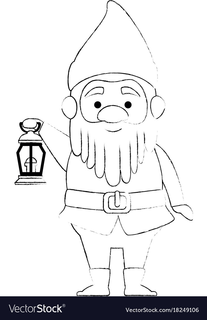 Cute gnome with miner lamp character