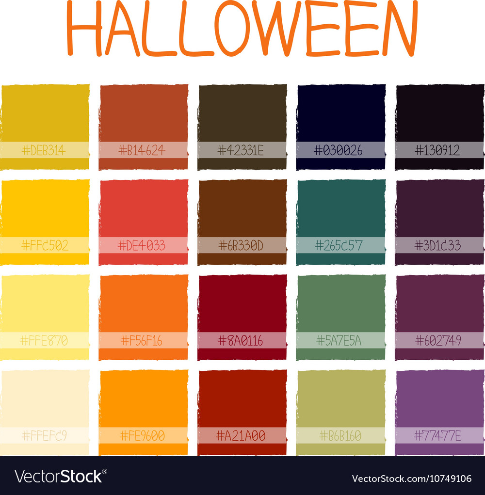 Halloween Color Palette 2020 Adobe Illustrator Halloween Colors Tone with Code Royalty Free Vector Image