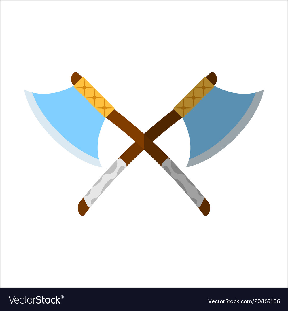 Medieval axe icon and label flat style logo