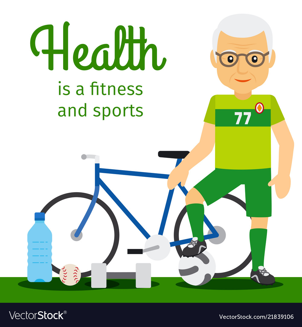 Old man and sport equipments lifestyle concept