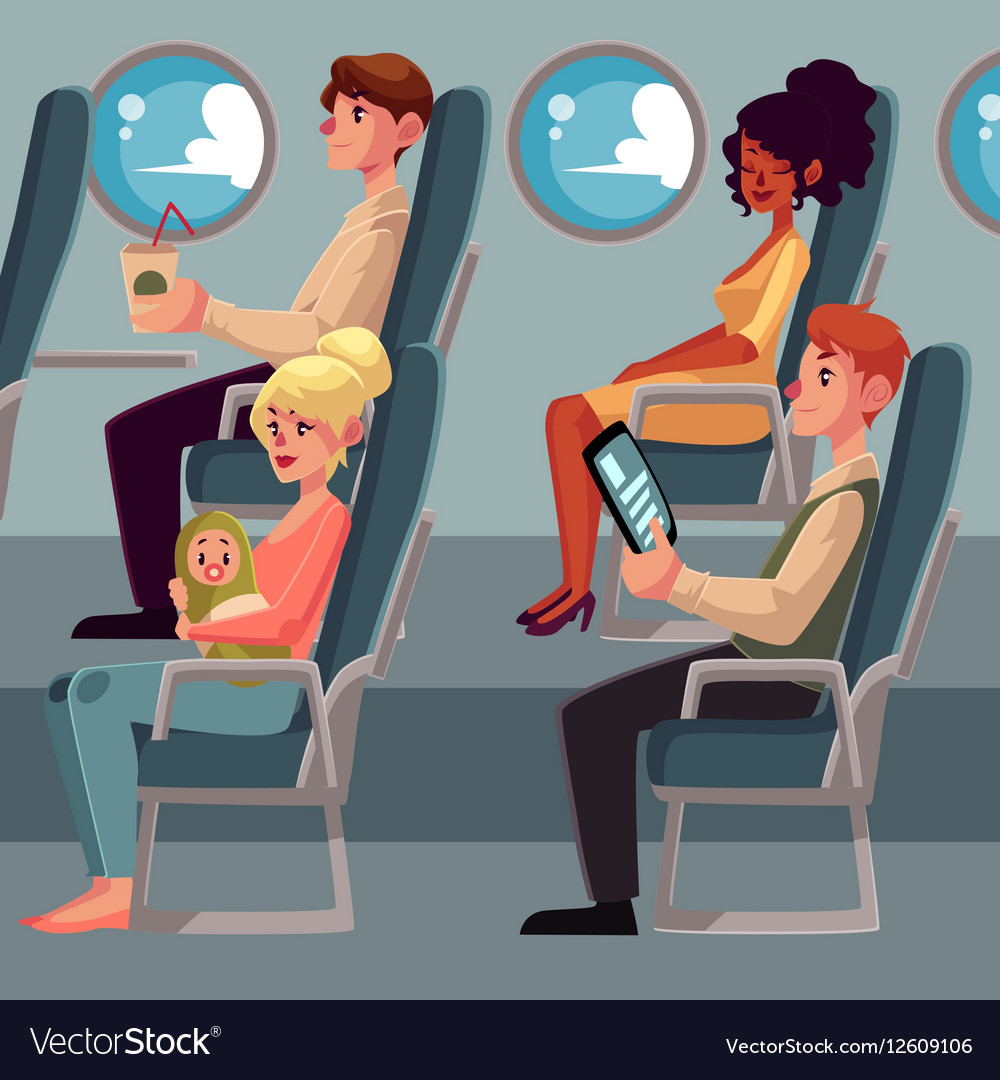 Set of airplane passengers seating in economy