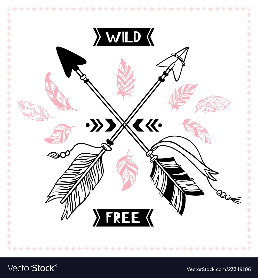 Wild free poster indian tribal cross arrows