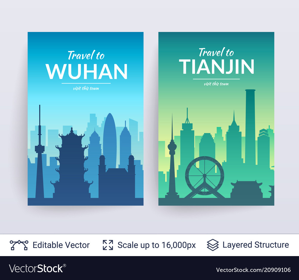 Wuhan and tianjin famous chinese city scapes