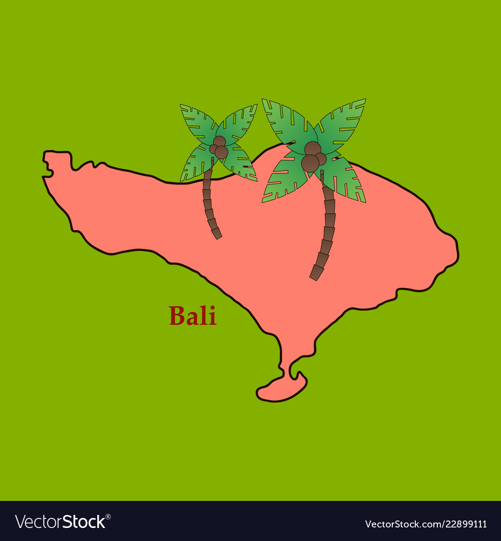 bali indonesia map with travel and attraction