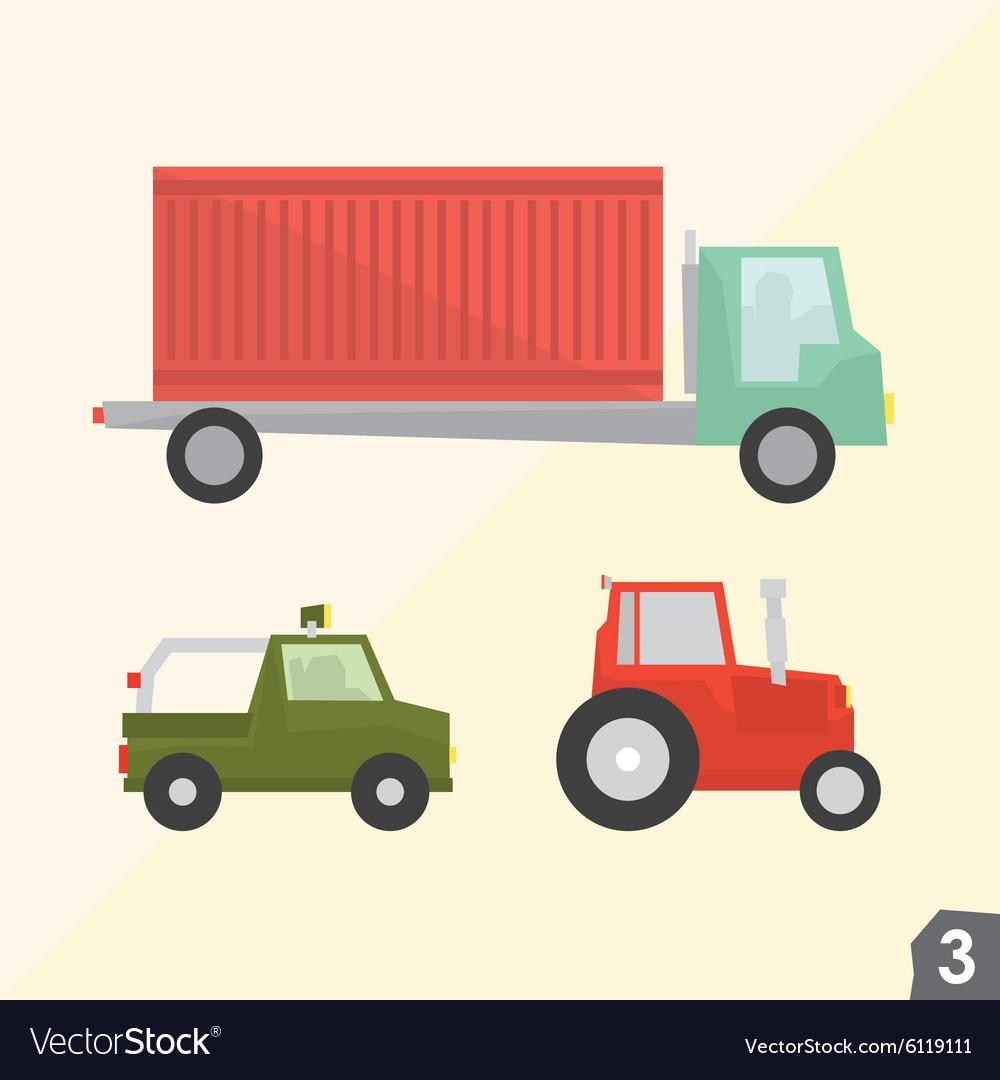 Container truck safari jeep and farm tractor