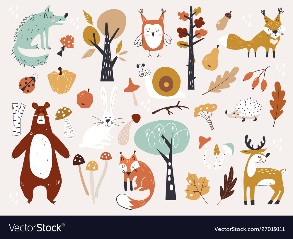 Cute autumn woodland animals and floral forest