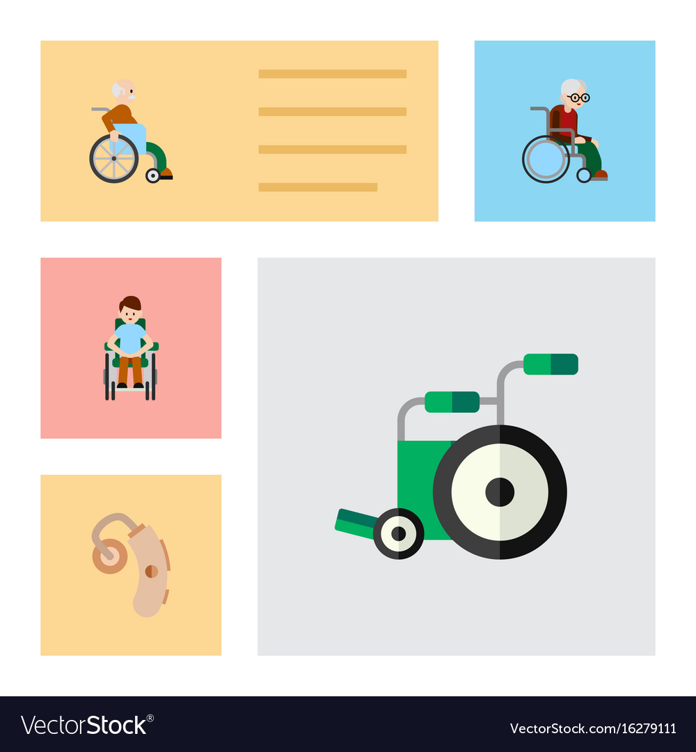Flat icon disabled set of disabled person