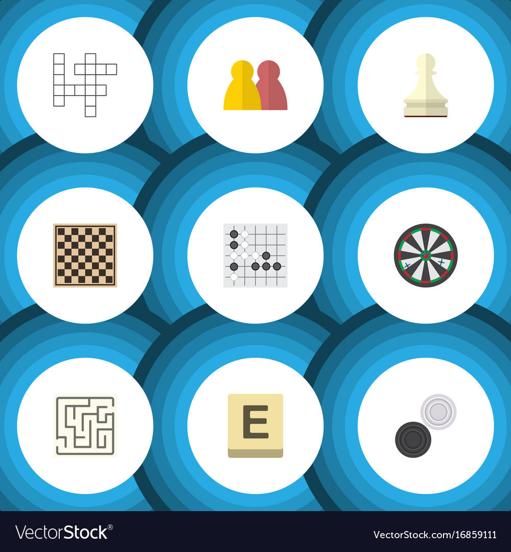 Flat icon play set of arrow mahjong gomoku and vector image