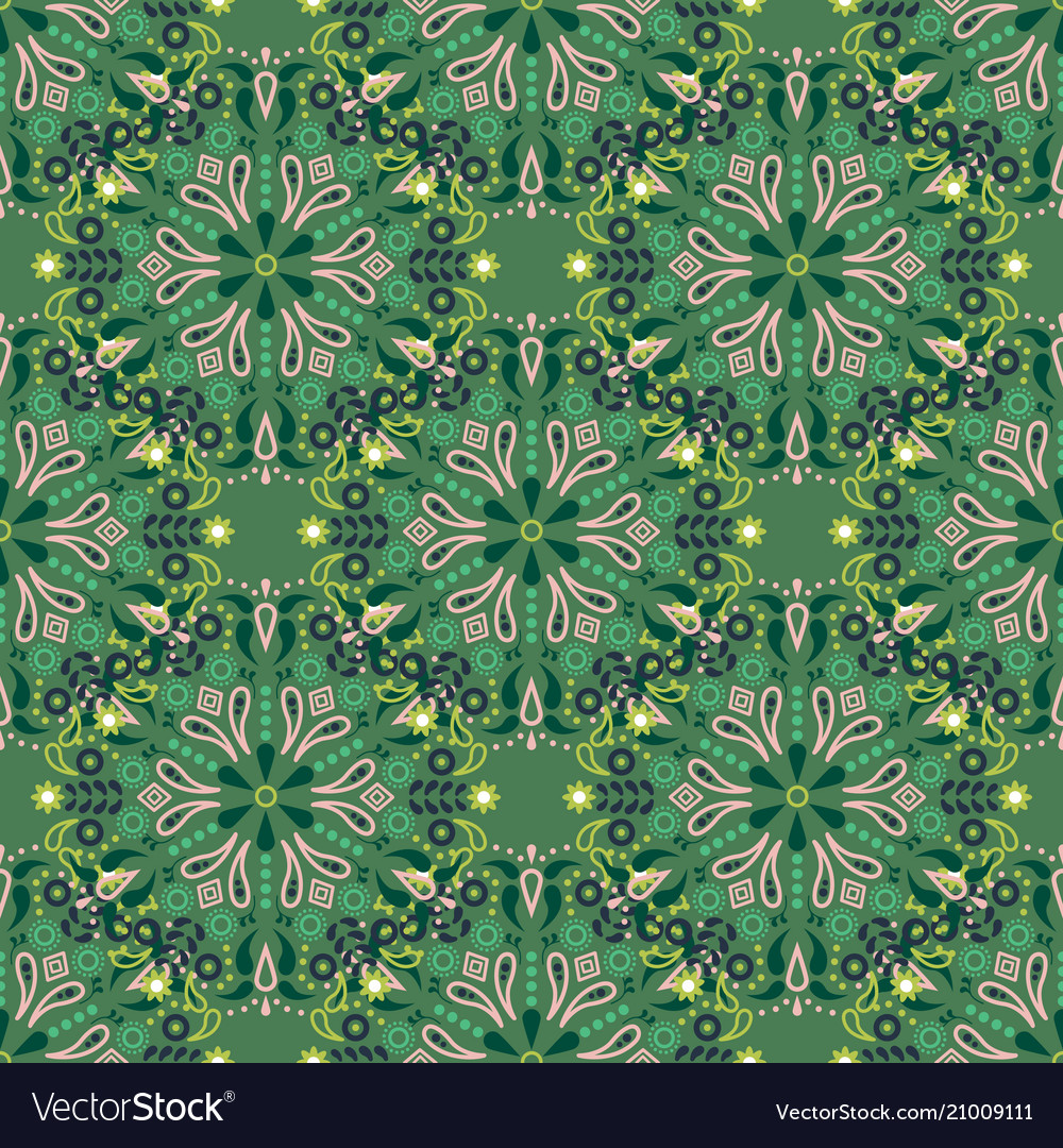 Green mandala seamless pattern