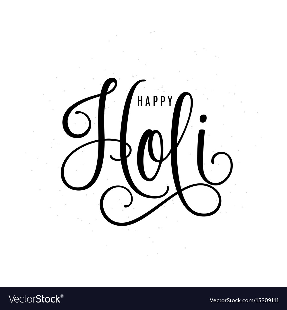Happy holi lettering text