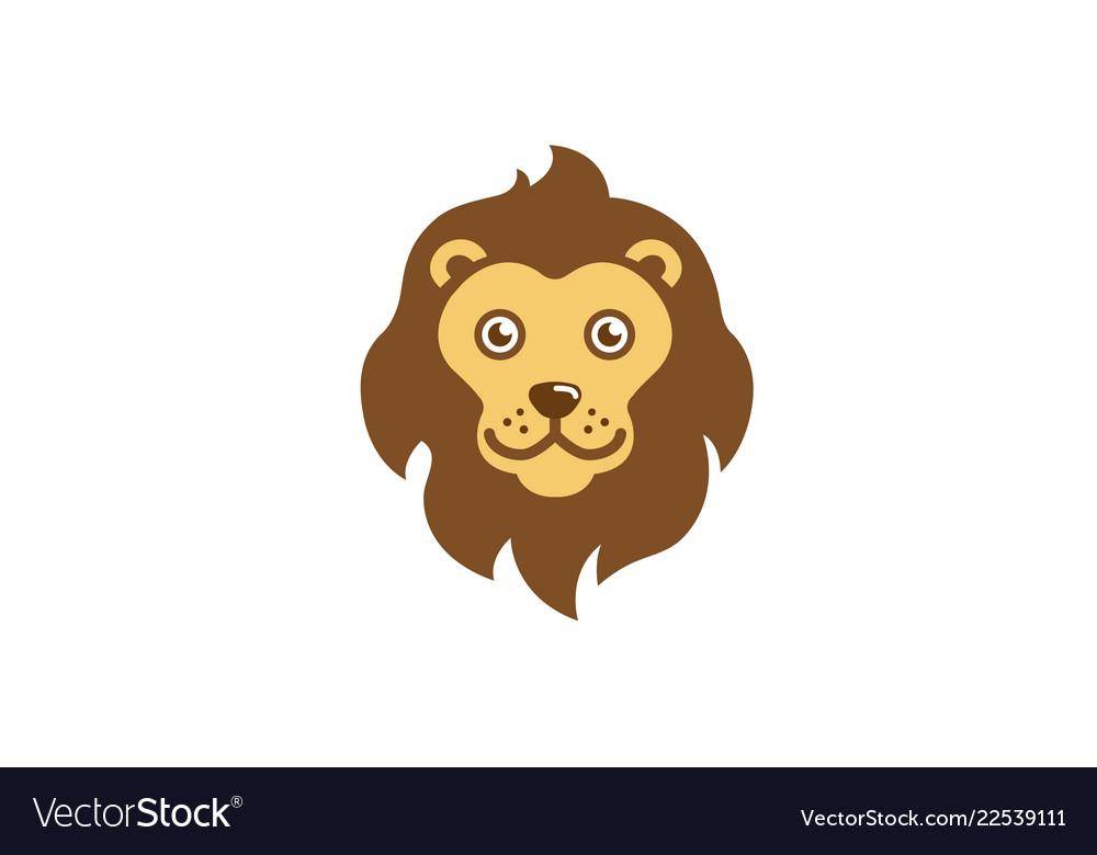Lion head cartoon character logo