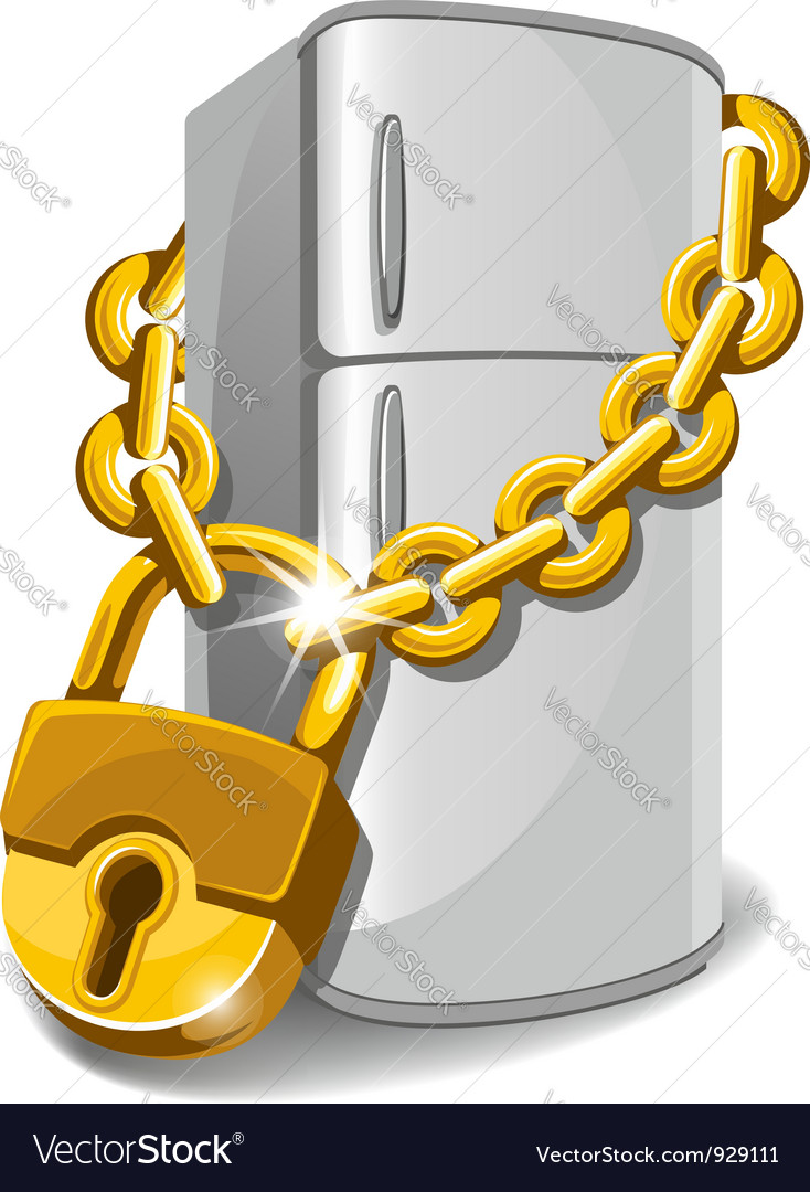 Locked refrigerator vector image